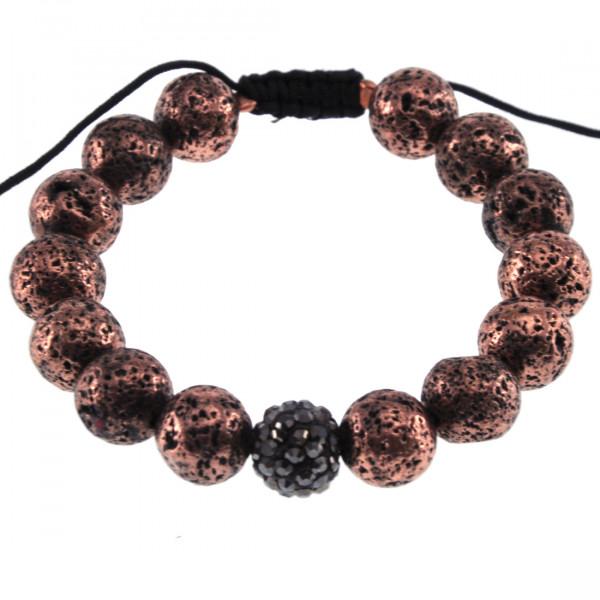 Βραχιόλι Shamballa Collection με Ροζ Επιχρυσωμένη Ηφαιστειακή Πέτρα