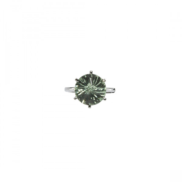 Δαχτυλίδι από Λευκό Χρυσό με Πράσινο Αμέθυστο