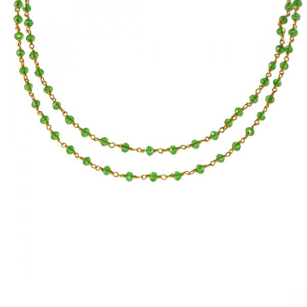 Κολιέ Linkchain με Πράσινα Glass Stones και Επίχρυση Αλυσίδα