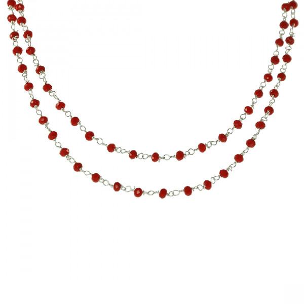 Κολιέ Link Chain με Κόκκινα Κοράλλια με Ασημί Αλυσίδα