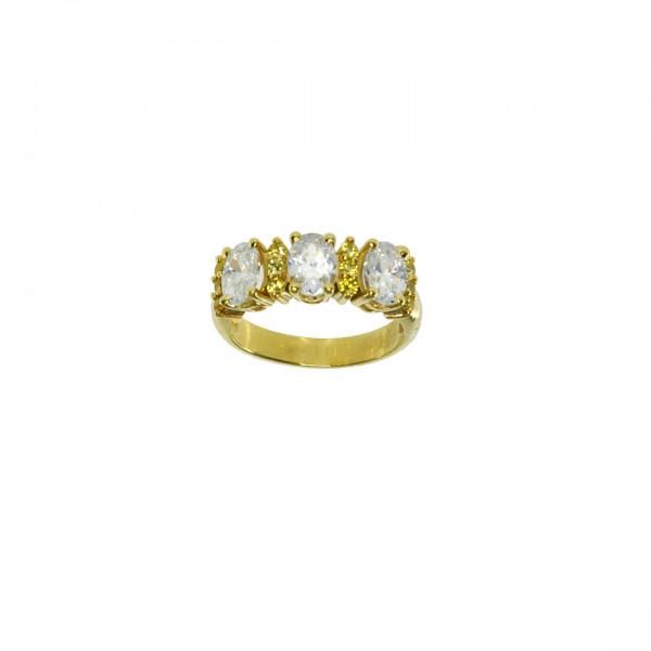 Τρίπετρο Δαχτυλίδι με Citrine και Λευκά Ζαφείρια σε Χρυσό Κ14