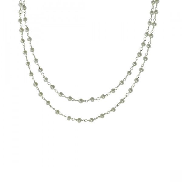 Κολιέ Link Chain σε Ασημί Χρώμα με Λευκές Πέρλες