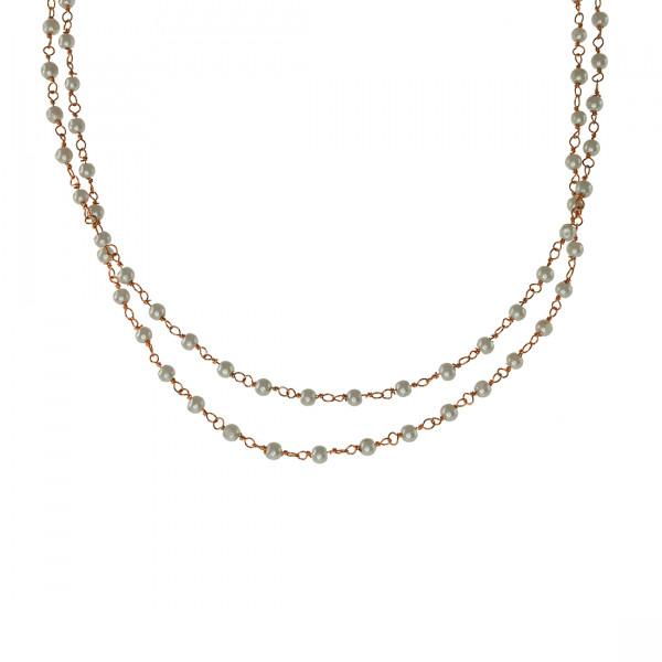 Κολιέ Link Chain με Πέρλες και Επιμετάλλωση Ροζ Χρυσού.