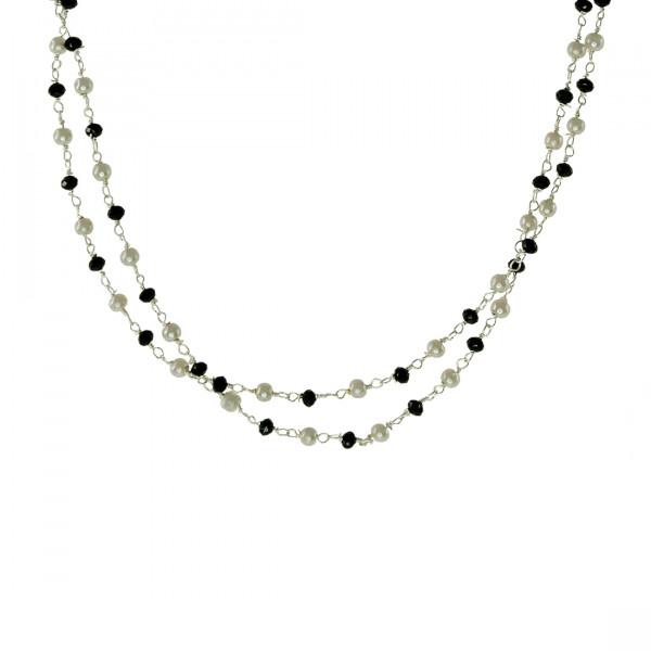Δίχρωμο Κολιέ Link Chain με Πέρλες και Μαύρους Όνυχες
