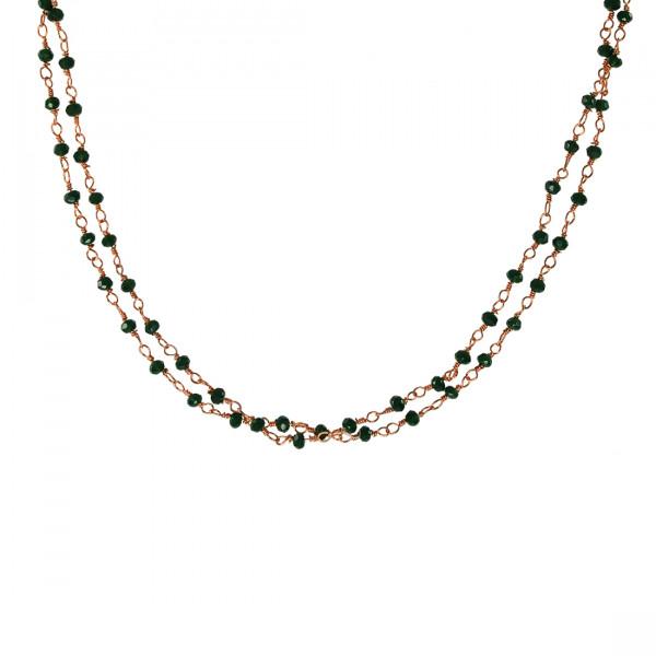 Ροζ Επιχρυσωμένο Κολιέ Link Chain με Σμαραγδίτες