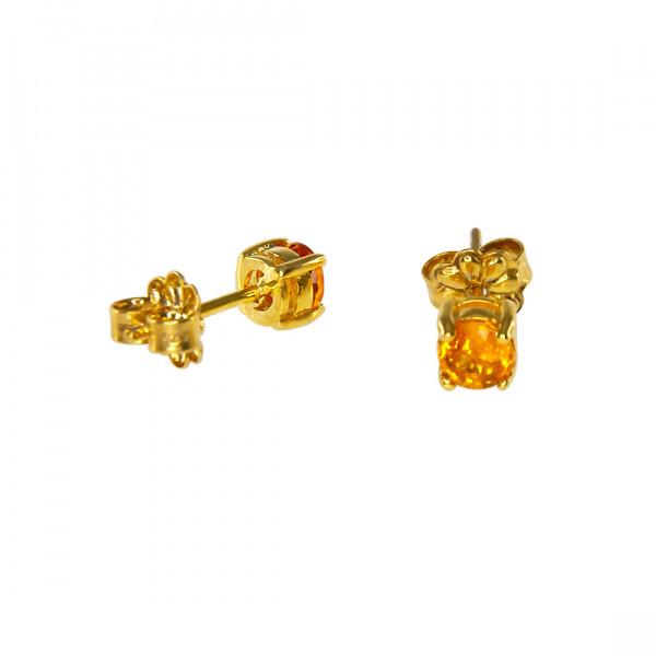 Μονόπετρα Σκουλαρίκια Καρφωτά με Κίτρινα Ζαφείρια σε Κ14 Κίτρινο Χρυσό