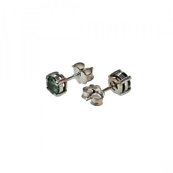 Σκουλαρίκια από Λευκό Χρυσό με Πράσινα Ζαφείρια