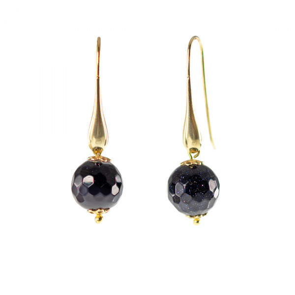Σκουλαρίκια με Μπλε Χρυσόλιθο σε Επιχρυσωμένο Ασήμι