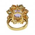 Cocktail Δαχτυλίδι με Αμέθυστο, Multi Color Ζαφείρια και Μπριγιάν σε Χρυσό Κ18