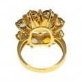 Χρυσό Δαχτυλίδι Cocktail με Citrine, Ζαφείρια και Μπριγιάν