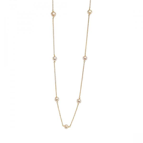 Κολιέ Link Chain από Επιχρυσωμένο Ασήμι με Μαργαριτάρια