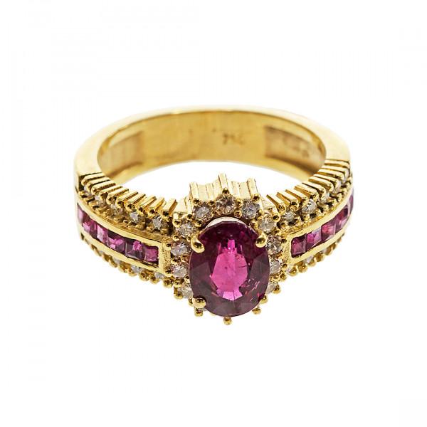 Χρυσό Δαχτυλίδι Ροζέτα με ένα κεντρικό Ρουμπίνι και Διαμάντια και Ρουμπίνια στη Γάμπα