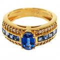Εντυπωσιακό Δαχτυλίδι Χρυσό με Ζαφείρια Κεϋλάνης και Μπριγιάν