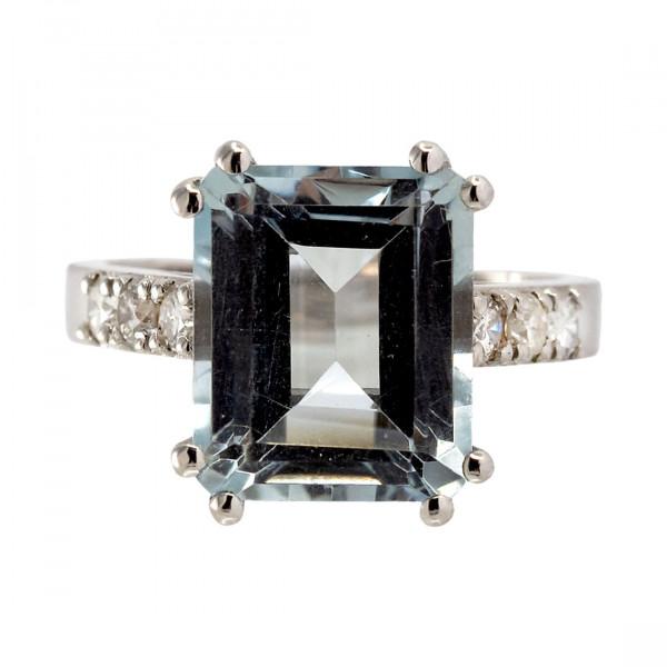 Λευκό Χρυσό Μονόπετρο Δαχτυλίδι με Aquamarine και Μπριγιάν