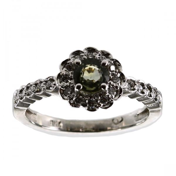Κ18 Λευκό Χρυσό Δαχτυλίδι Ροζέτα με Πράσινο Ζαφείρι και Μπριγιάν