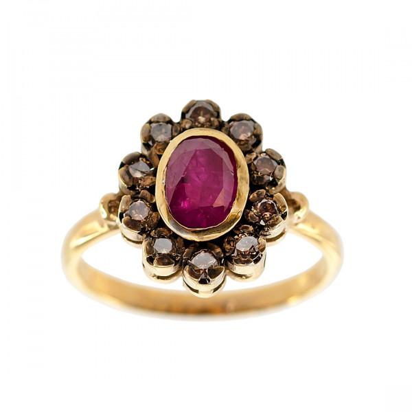 Δαχτυλίδι Ροζέτα με Ρουμπίνι και Brown Μπριγιάν σε Χρυσό Κ18