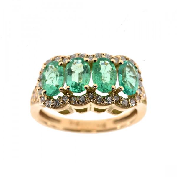 Κ18 Χρυσό Δαχτυλίδι με Τέσσερα Σμαράγδια και Μπριγιάν
