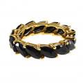 Ολόβερο Χρυσό Δαχτυλίδι με Μαύρα Ζαφείρια Navette-Cut