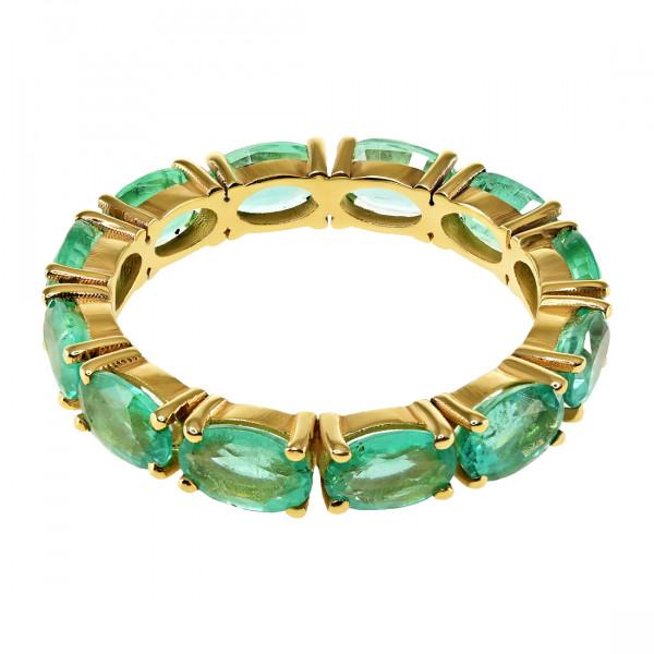 Χρυσό Σειρέ Δαχτυλίδι με Δώδεκα Σμαράγδια Κολομβίας