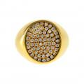 Δαχτυλίδι Σεβαλιέ από Επιχρυσωμένο Ασήμι με Λευκά CZ