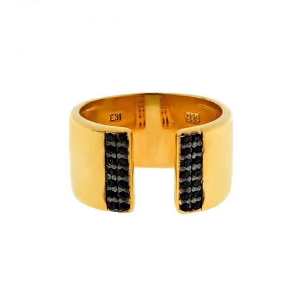 Δαχτυλίδι Infinity Collection από Επιχρυσωμένο Ασήμι με Μαύρα CZ