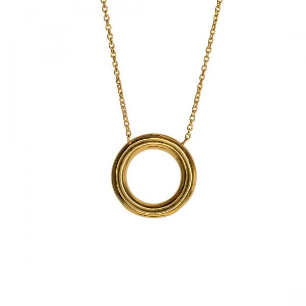 Minimal Κολιέ Κύκλος από Επιχρυσωμένο Ασήμι