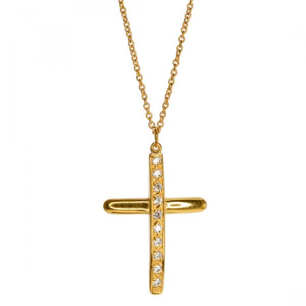 Σταυρός Infinity Collection από Επιχρυσωμένο Ασήμι με Λευκά CZ