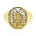 Χρυσό Δαχτυλίδι Σεβαλιέ Πέταλο με Μπριγιάν
