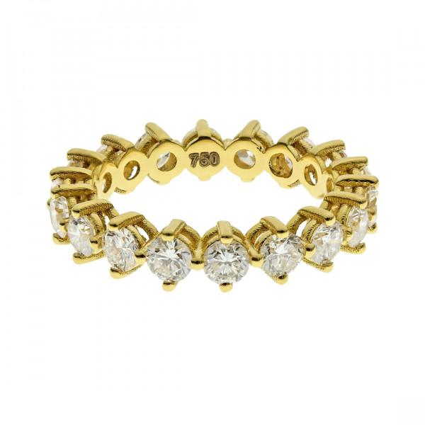 Χρυσό Δαχτυλίδι Ολόβερο με Μπριγιάν