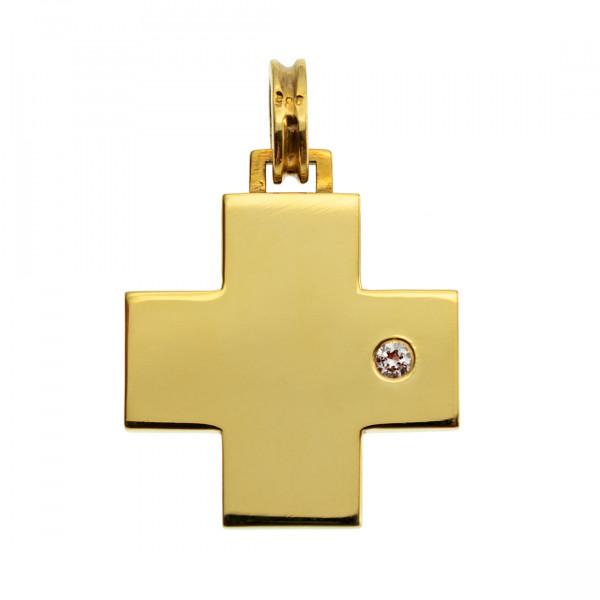 Κ14 Χρυσός Σταυρός με ένα Μπριγιάν