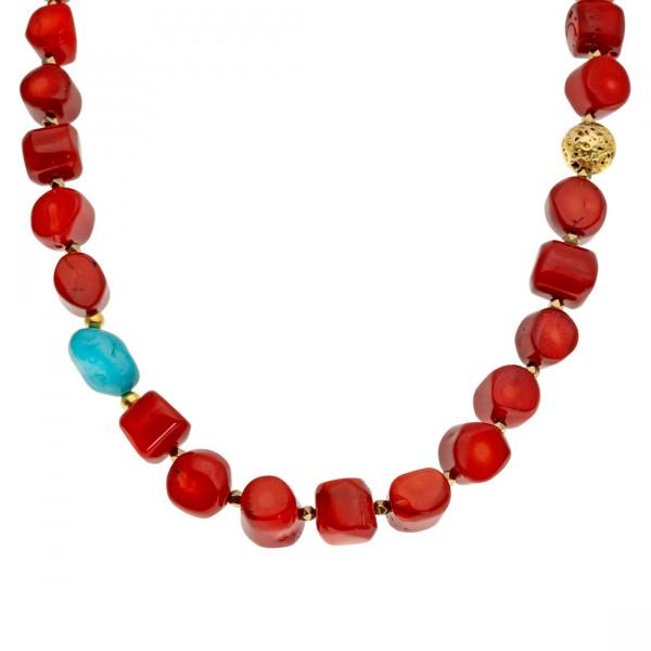Χειροποίητο Κολιέ με Φυσικά Κόκκινα Κοράλια, Χαολίτη και Λάβα