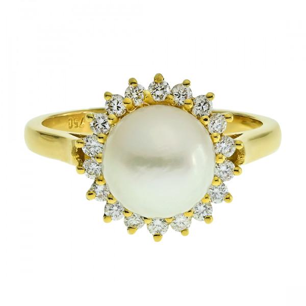 Δαχτυλίδι Ροζέτα με Μαργαριτάρι South Sea και Μπριγιάν σε Χρυσό Κ18