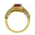 Κ18 Χρυσό Δαχτυλίδι Ροζέτα με Ρουμπίνι και Μπριγιάν