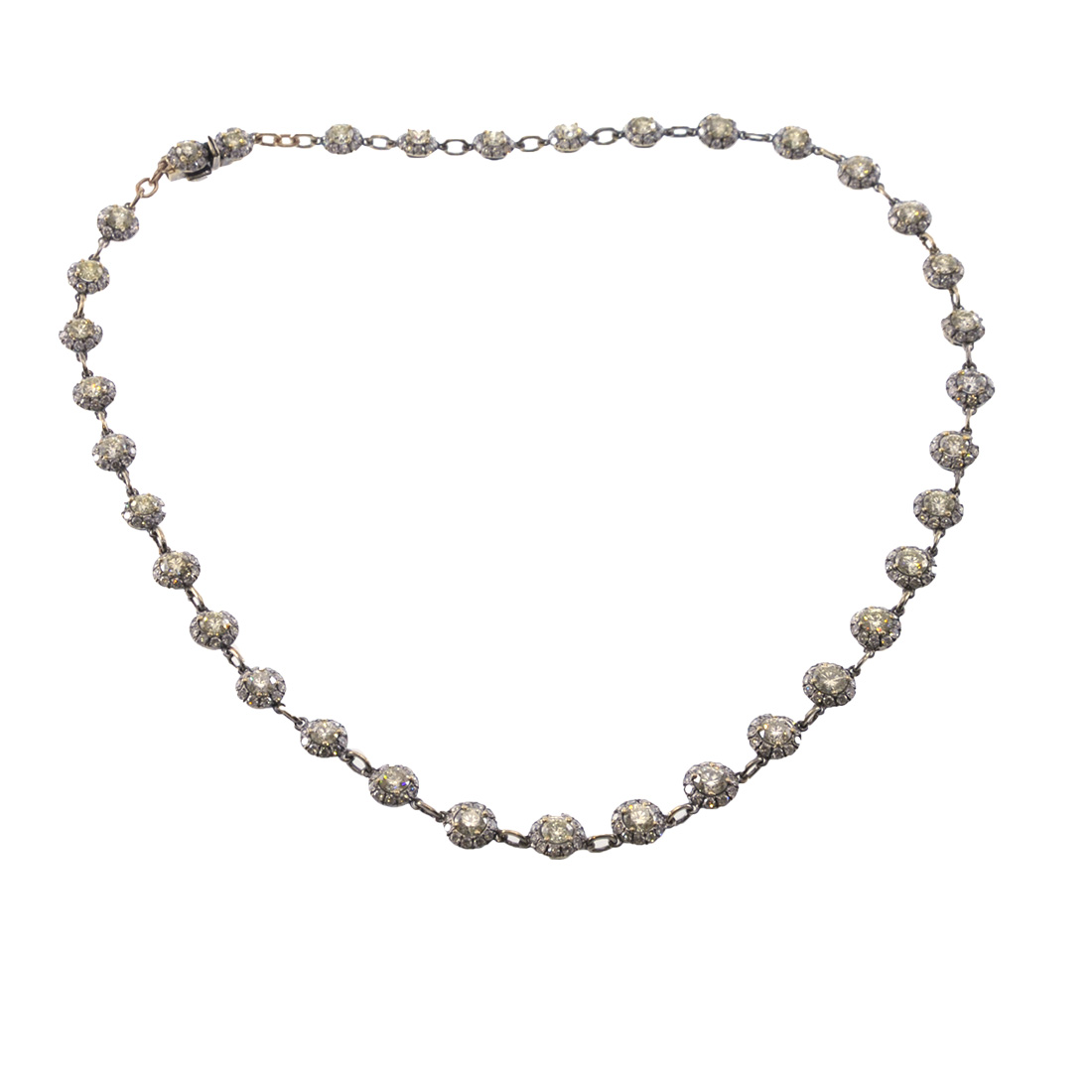 Diamond Tennis Necklace In Black Platinum Plated White Gold Gt Tsangarakis