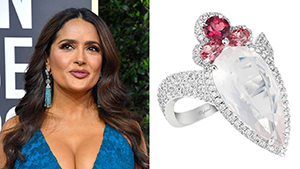 Salma Hayek at the 2020 Golden Globes Jewellery